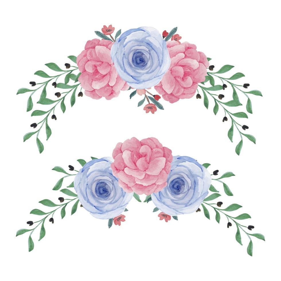 conjunto de flores em aquarela peônia rosa curvada vetor