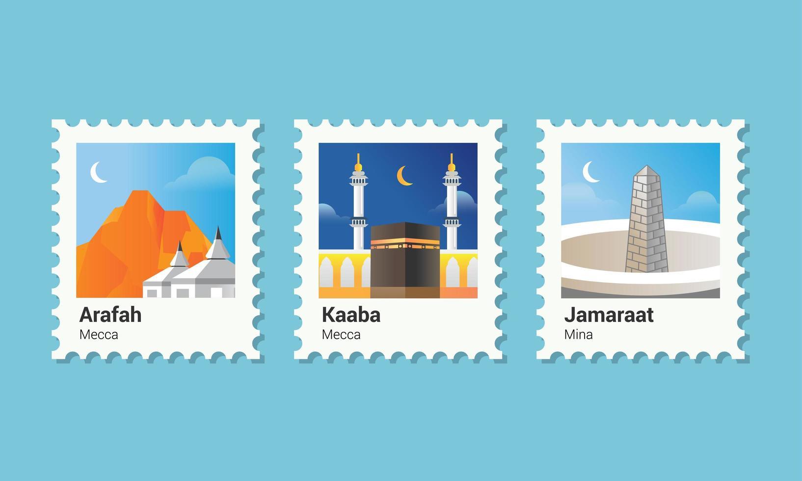 peregrinação islâmica de selo postal vetor