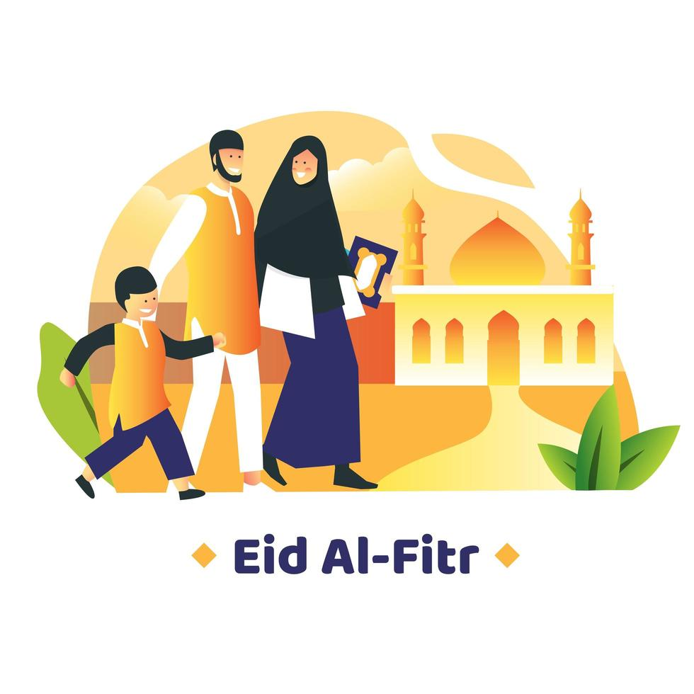 família que caminha juntos na frente da mesquita vetor