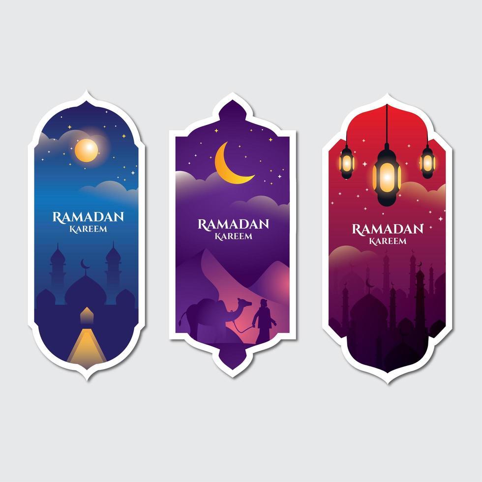 coleção de banners islâmicos vetor