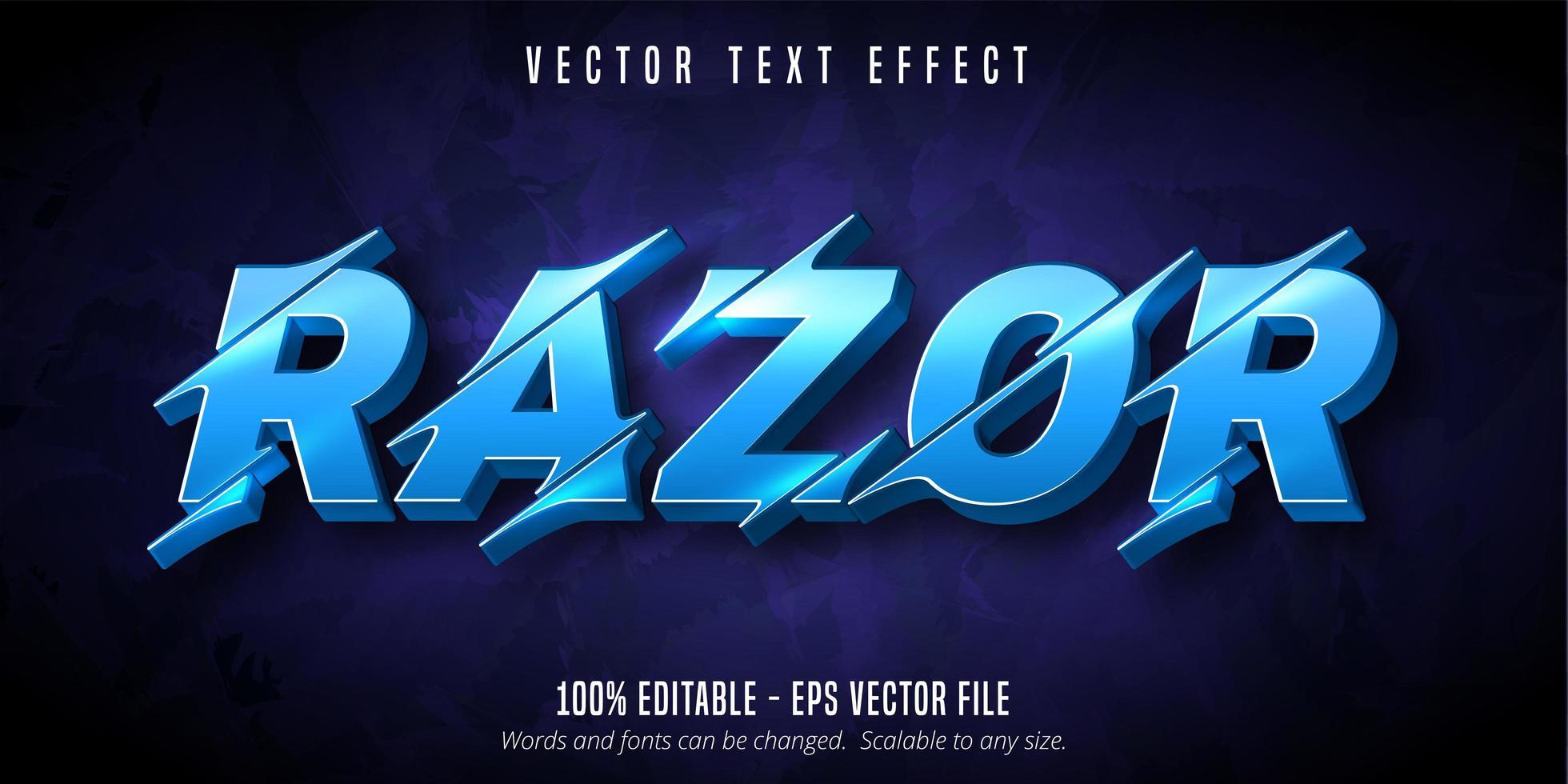 navalha iluminado efeito de texto estilo fatiado azul vetor