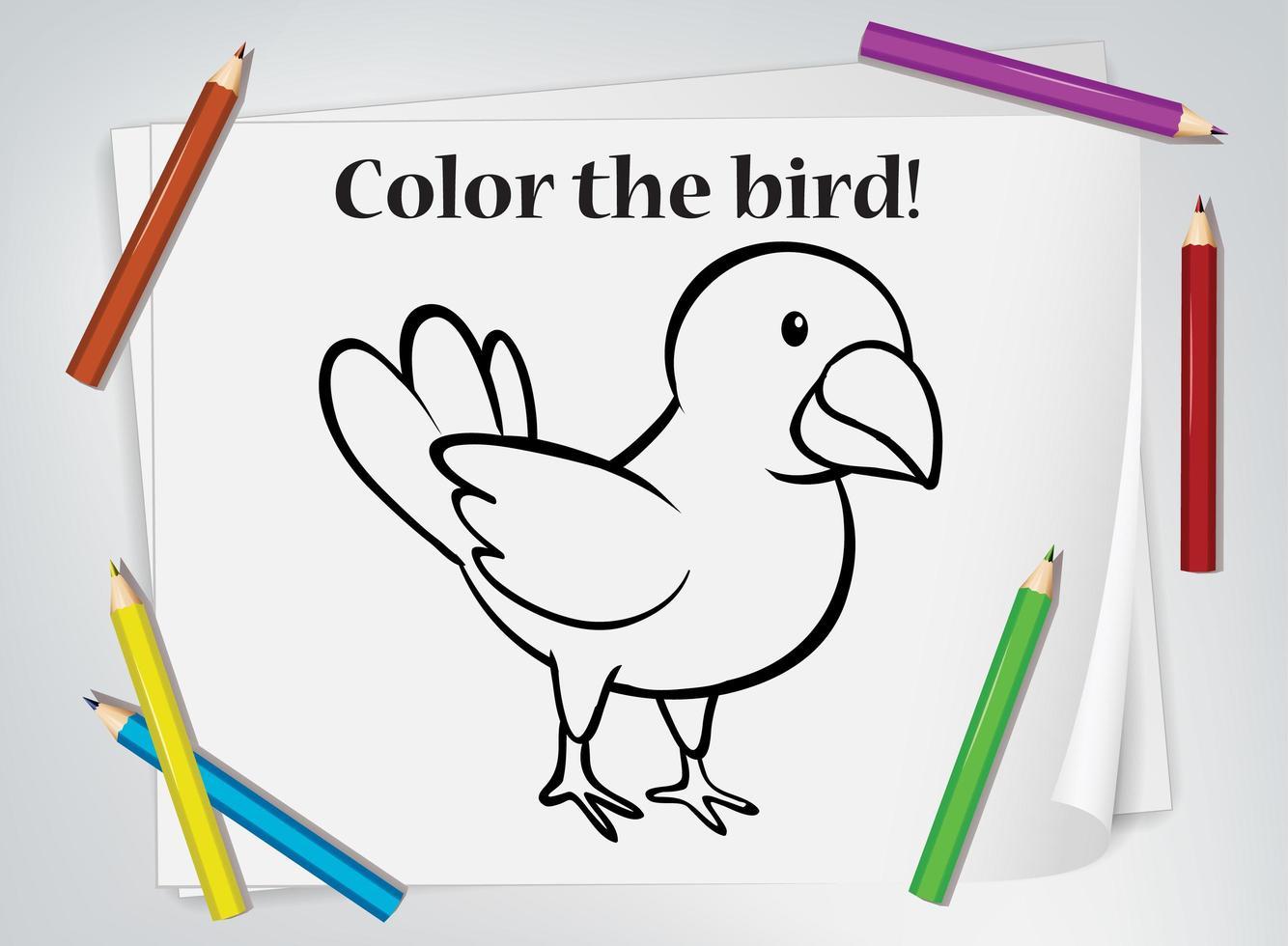 folha de coloração de pássaro para colorir vetor