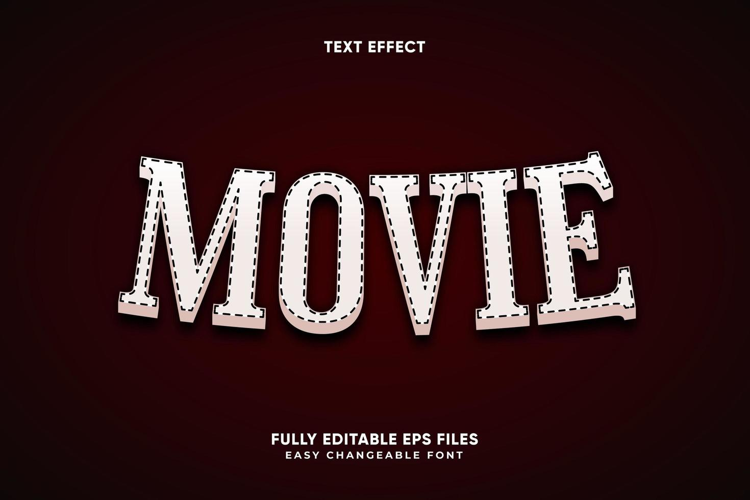 efeito de texto de filme editável vetor