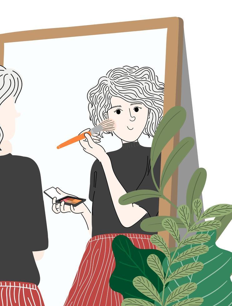 mulher colocando maquiagem vetor