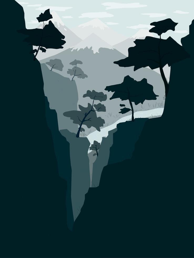 cenário natural montanhas e rios vetor