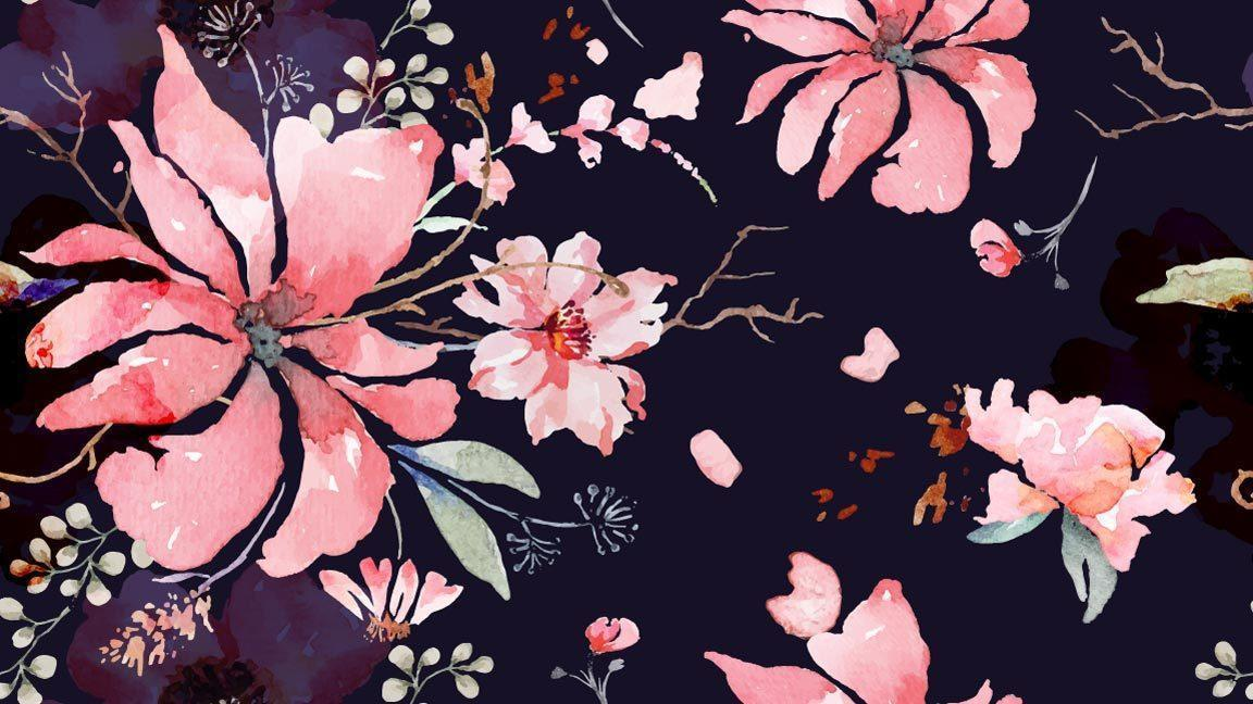 flor padrão sem emenda com aquarela vetor