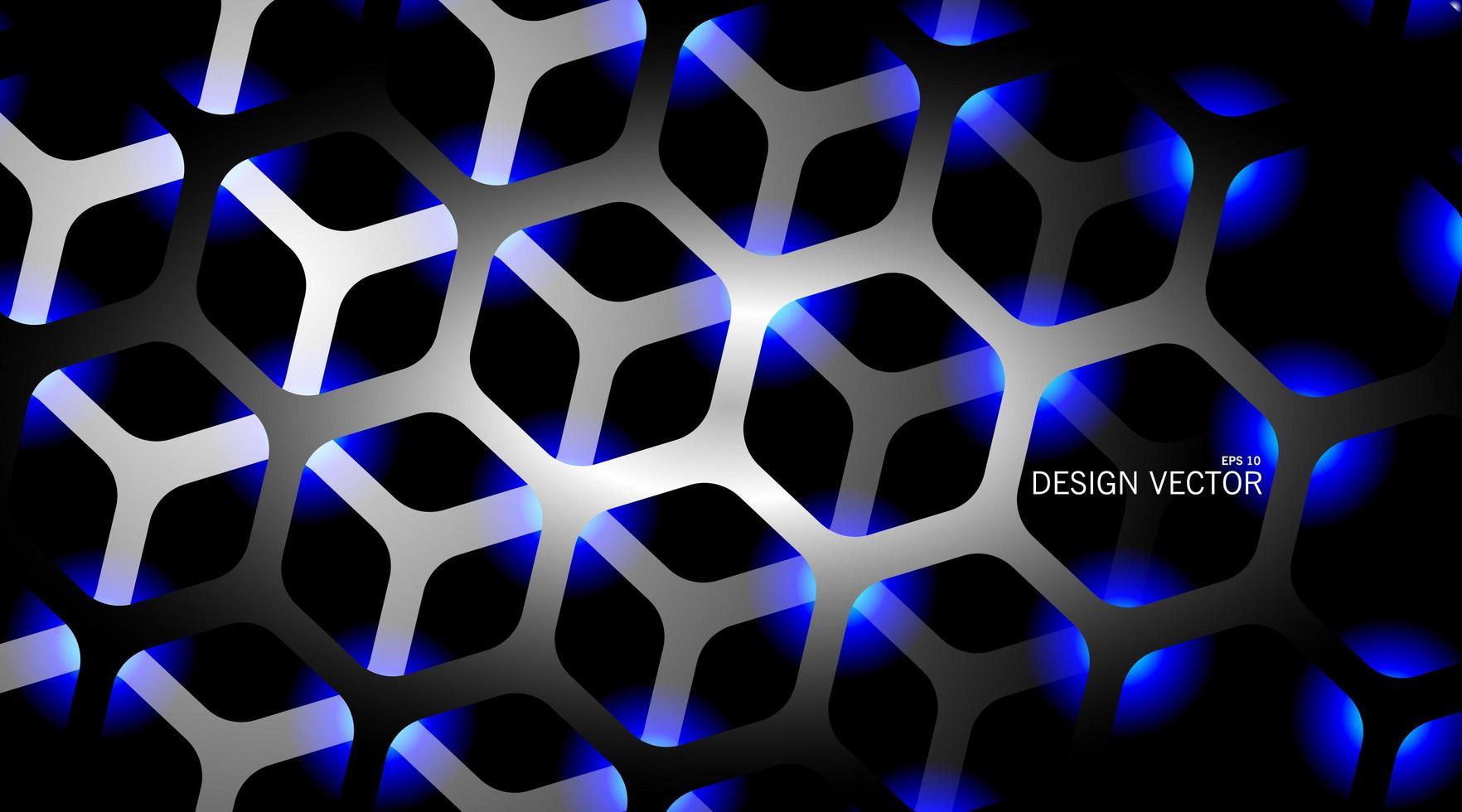 Fundo 3d hexágono cinza e azul vetor