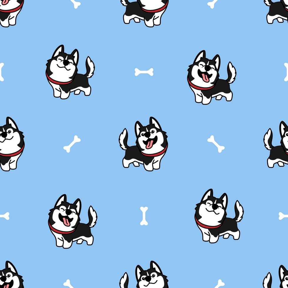 cão husky siberiano bonito sorrindo padrão sem emenda de desenhos animados vetor