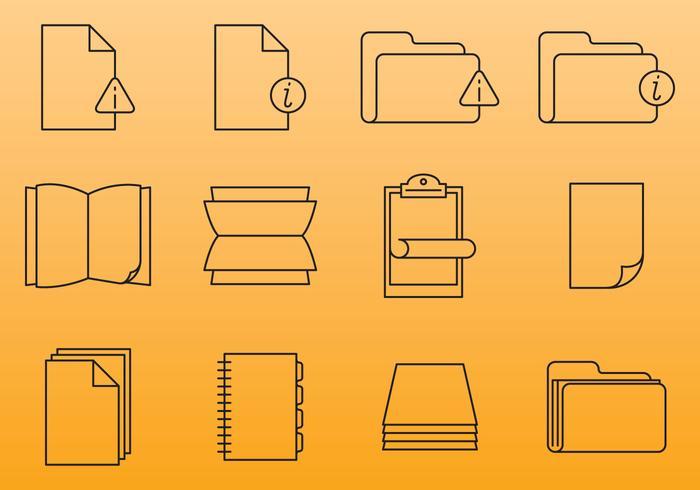 Ícones do documento de papel vetor