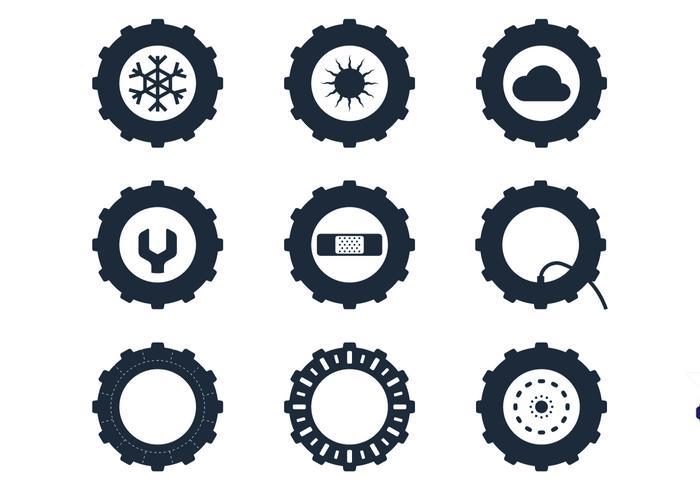 Ícones do pneu do trator vetor