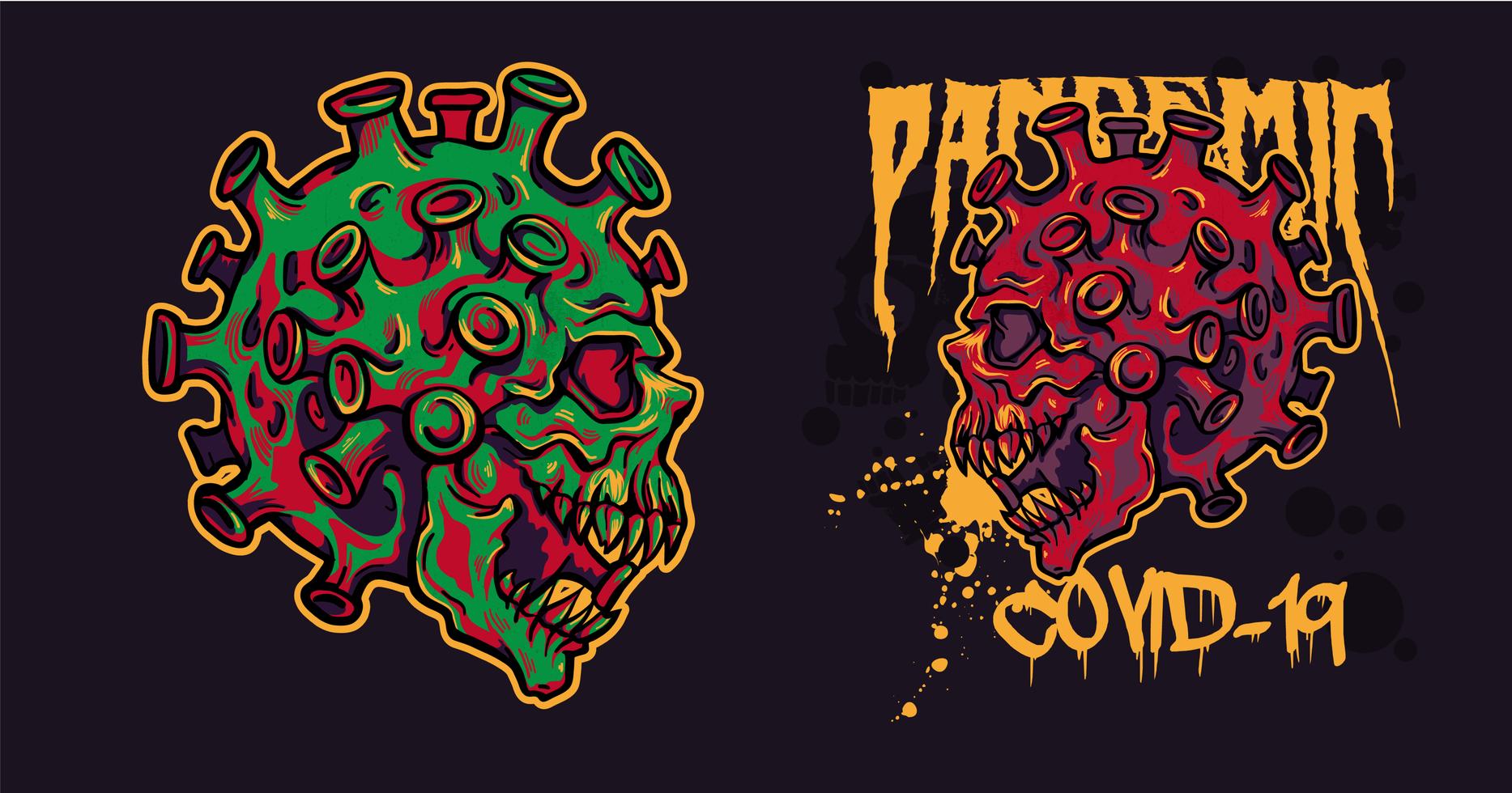 crânios de coronavírus de ilustração de duas cores para camisetas vetor