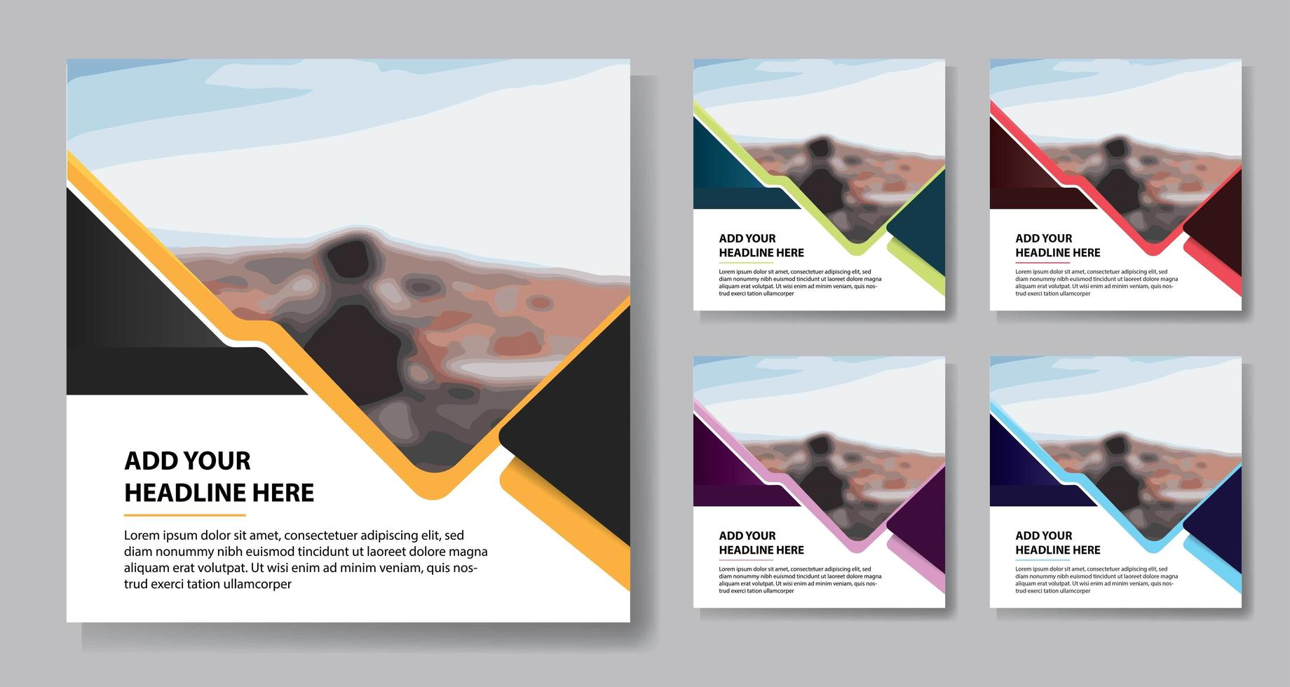 modelos de mídia ocial de destaque de triângulo colorido vetor