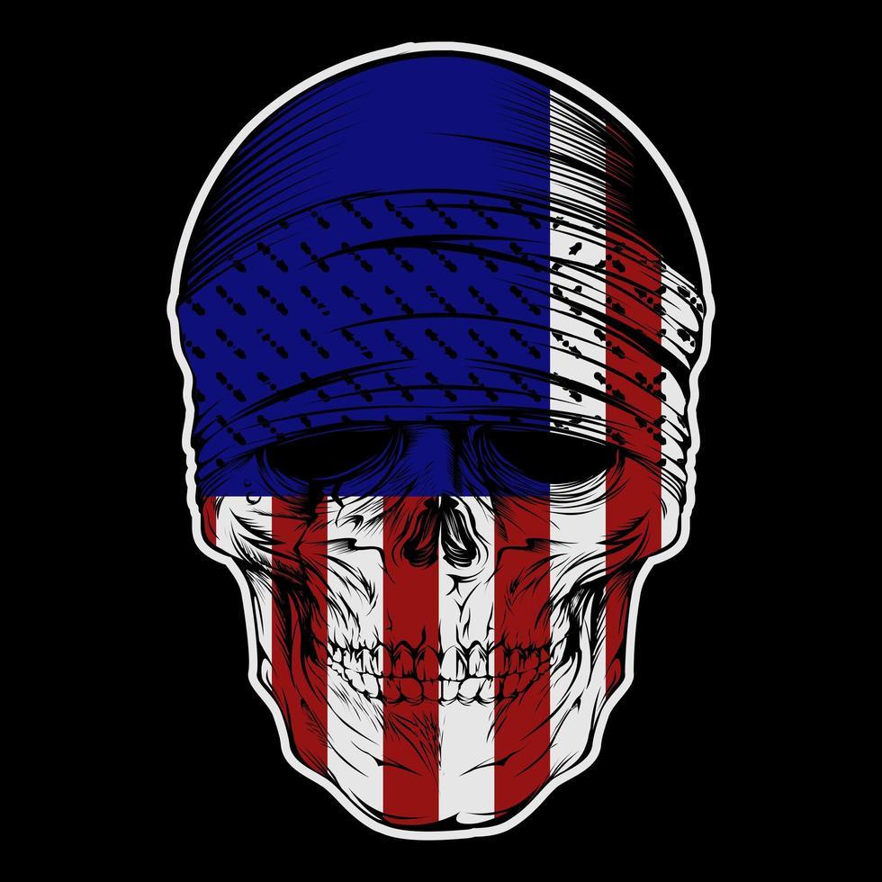 crânio usando bandana com padrão de bandeira EUA vetor