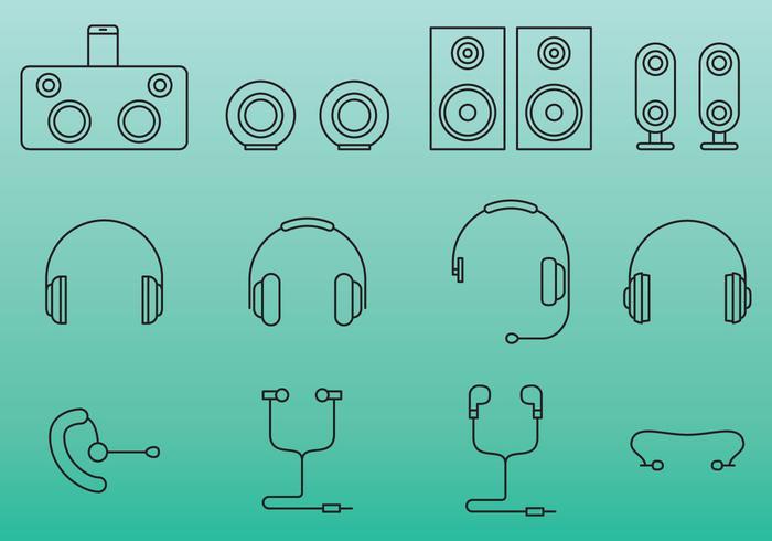 Ícones de orelha e orador vetor