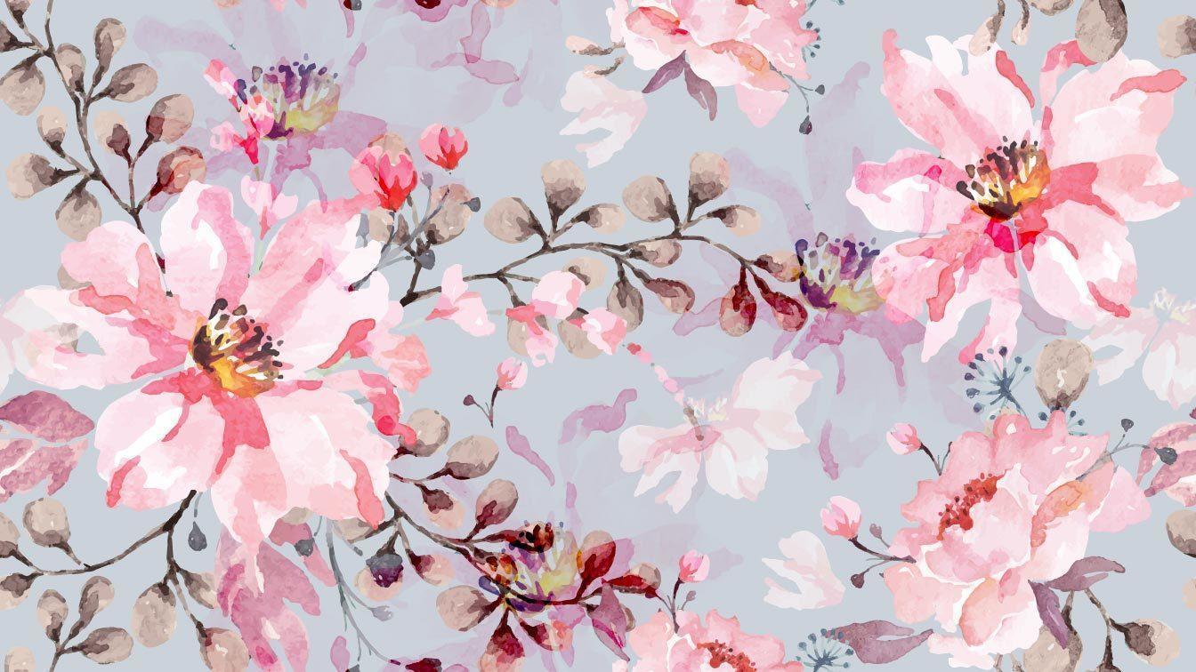 aquarela rosa padrão sem emenda vetor