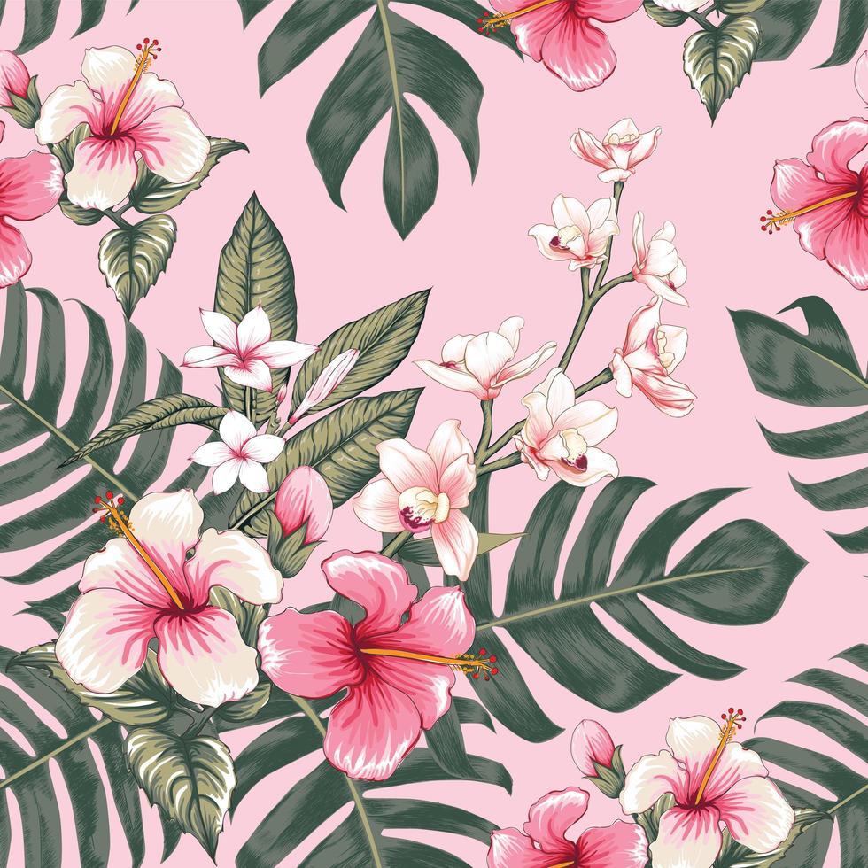 hibisco sem costura padrão floral rosa vetor