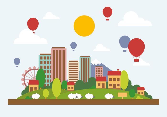Ilustração plana do vetor da paisagem plana da cidade
