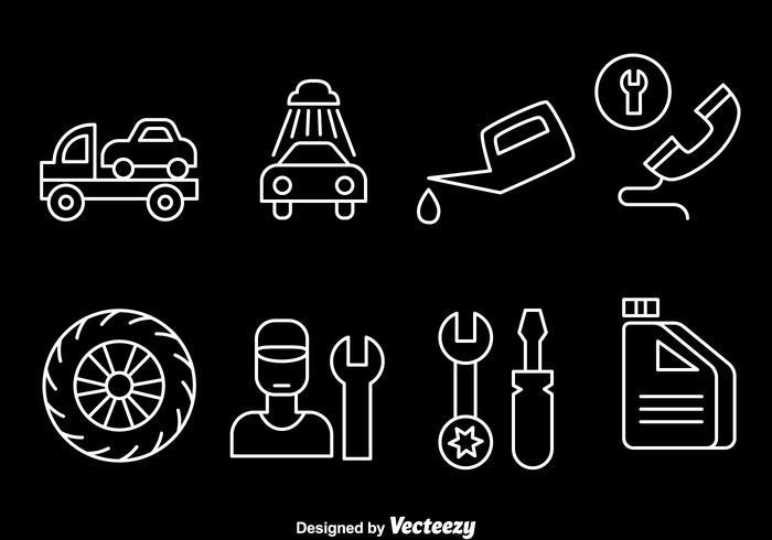 Ícones de linha de serviço de carro vetor