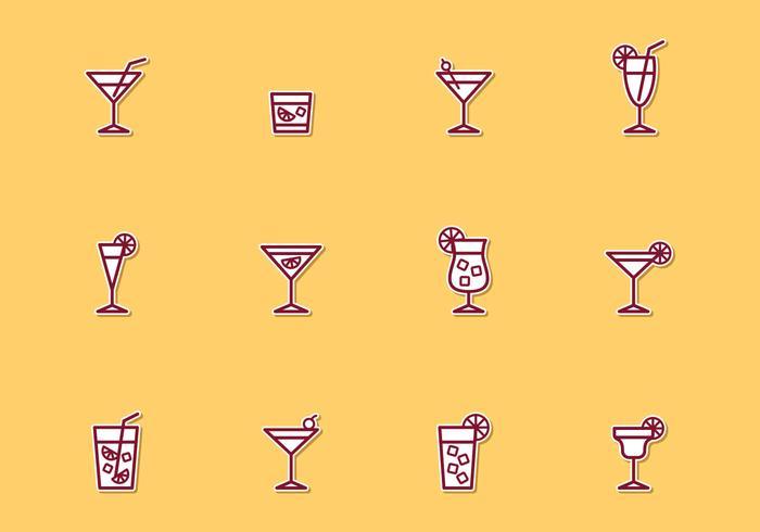 Ícones de linha fina de cocktail vetor