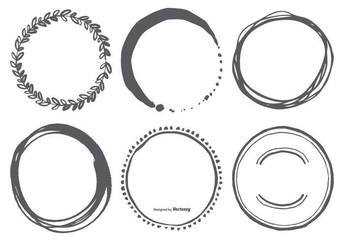 Formas vetoriais desenhadas a mão do círculo vetor