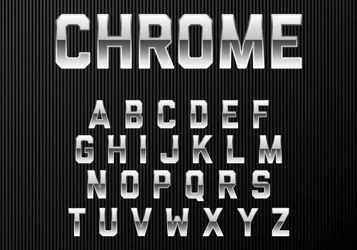 Fonte do alfabeto do Chrome vetor