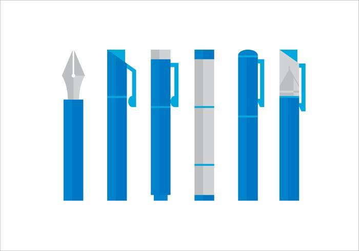Conjunto de caneta azul vetorial vetor