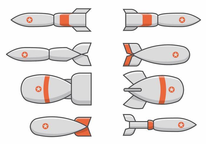 Conjunto da bomba da segunda guerra mundial vetor