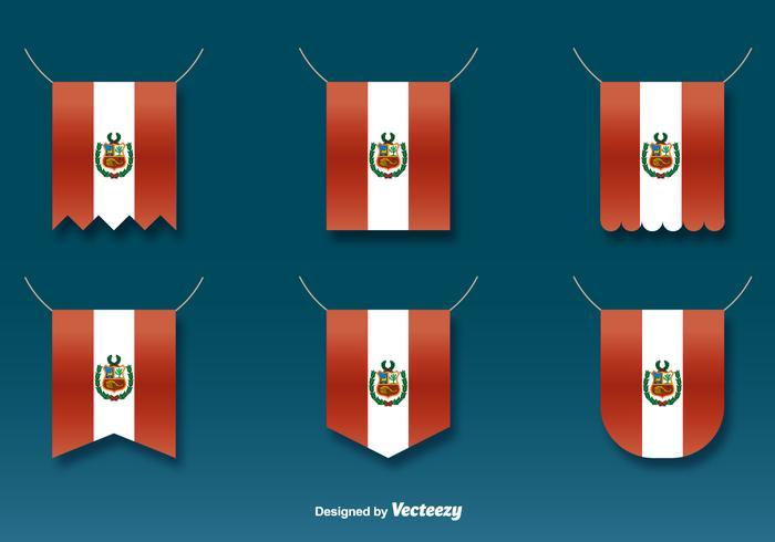 Vector suspenso das bandeiras de Peru Set