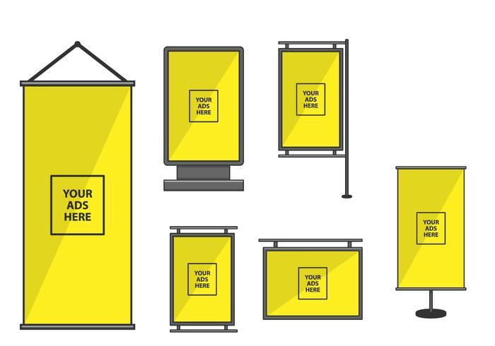 Conjunto amarelo do vetor do Kakemono