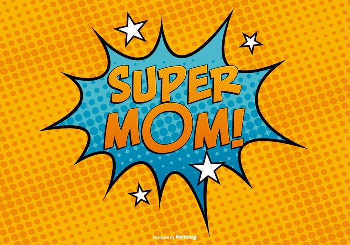 Comic style super mom illustration vetor