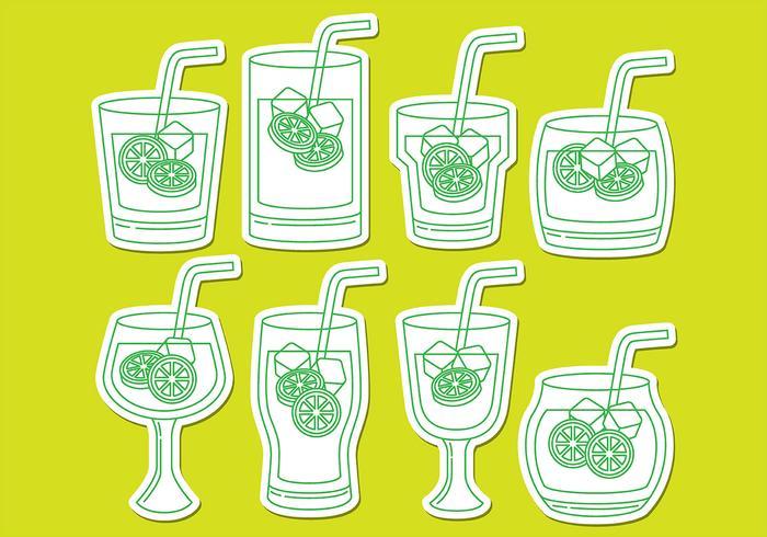Ícones da bebida Caipirinha vetor