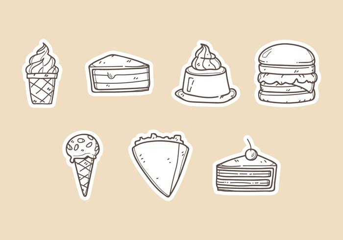 Ilustrações vetoriais de sobremesas vetor