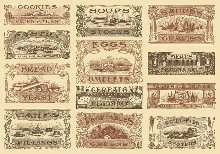 Cabeçotes de receita vintage vetor