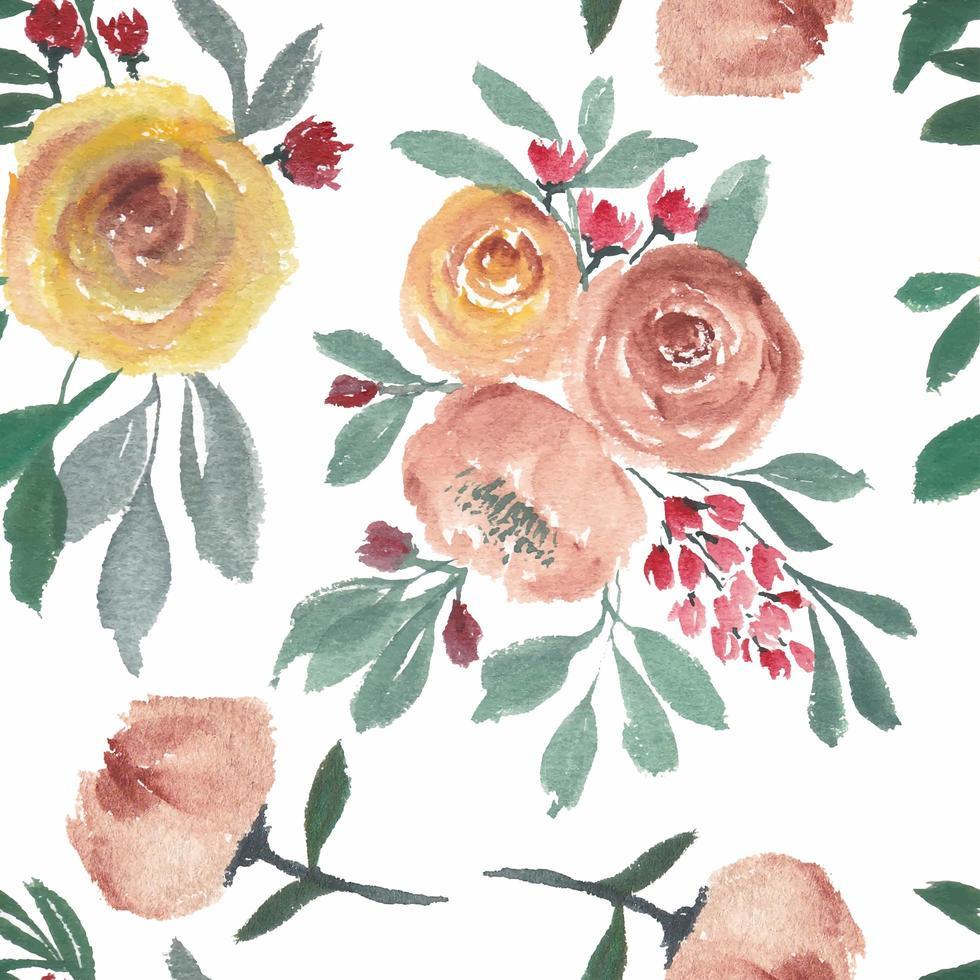 padrão sem emenda com flor rosa aquarela vetor