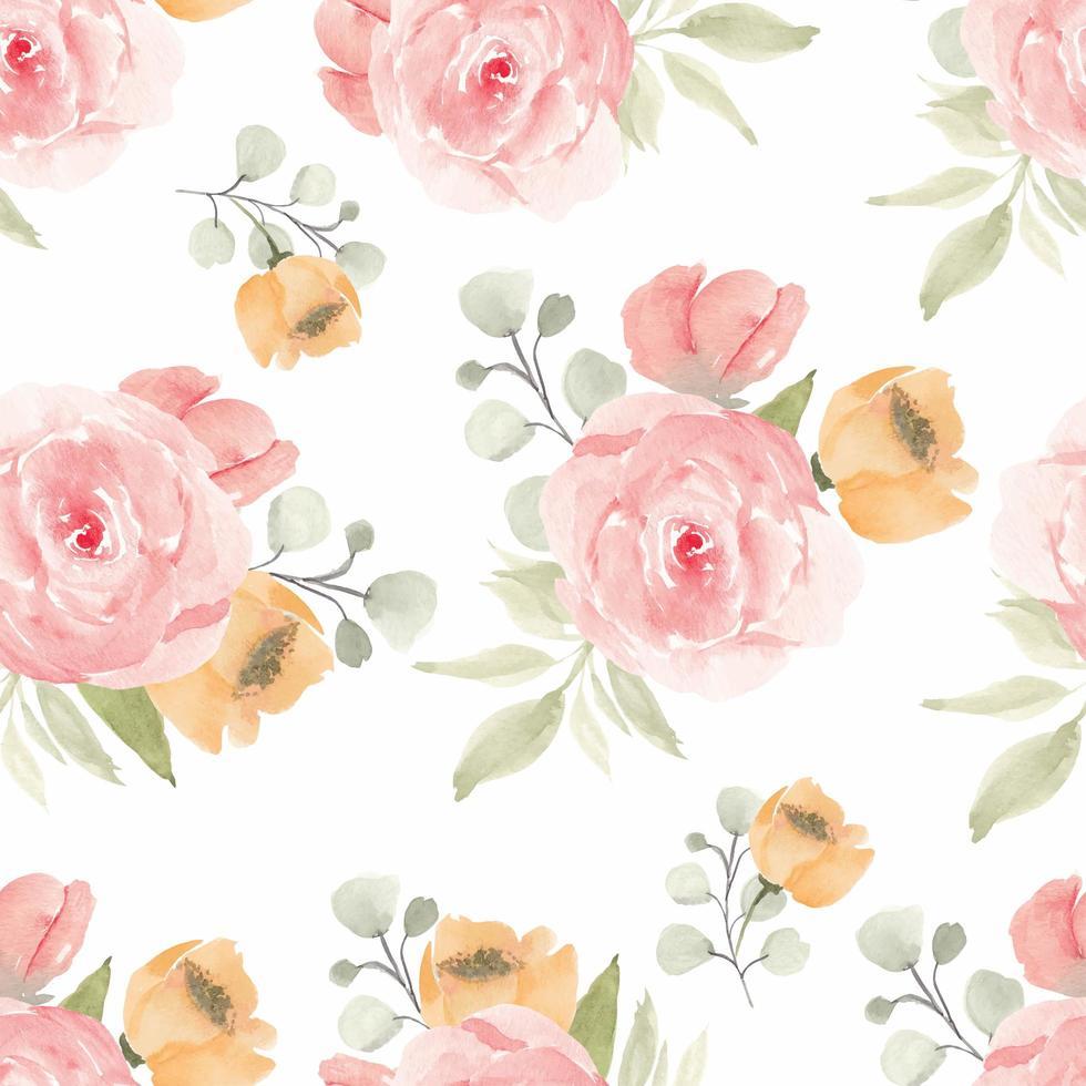 padrão de repetição floral com flor rosa em estilo aquarela vetor