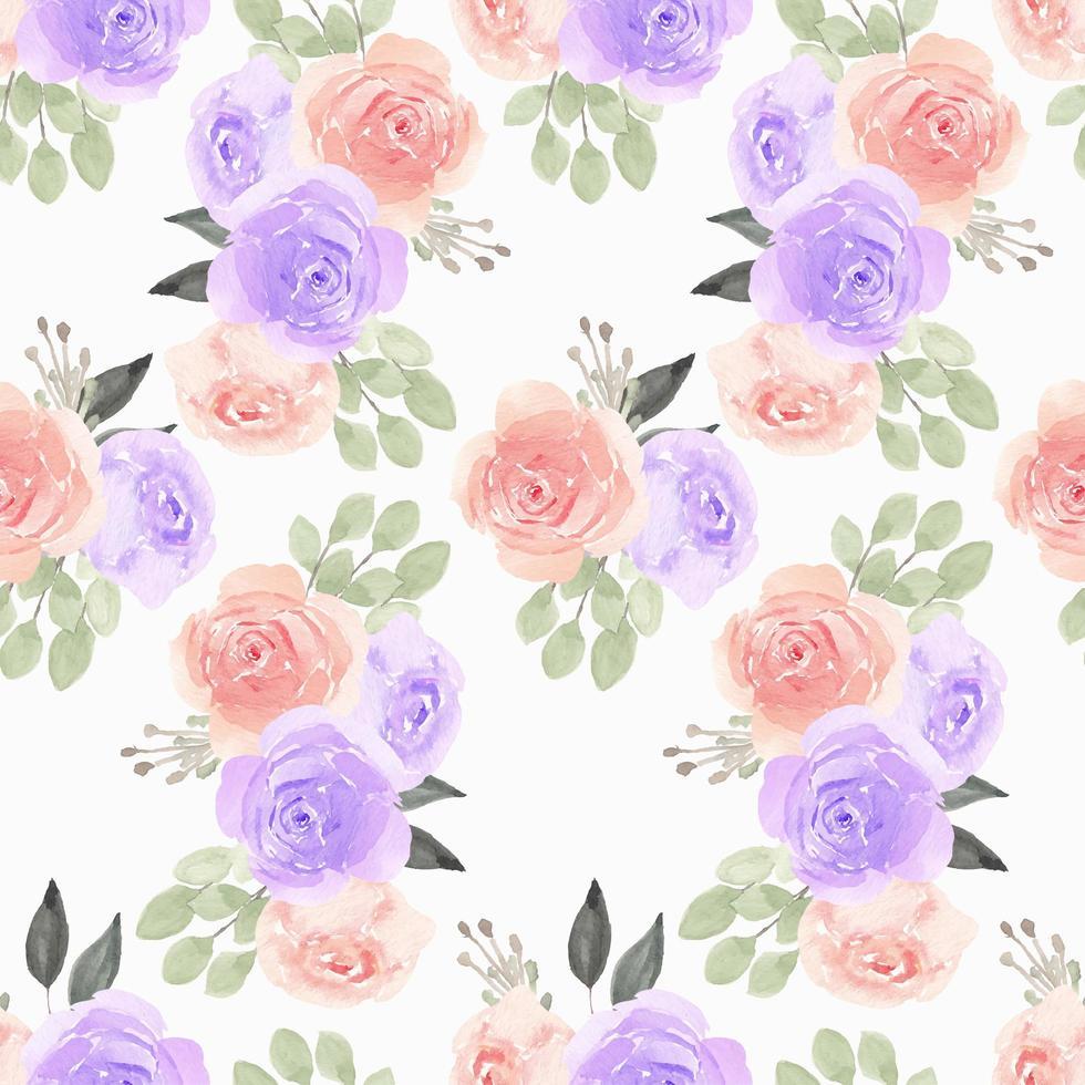 padrão aquarela com roxo, rosa flor rosa vetor