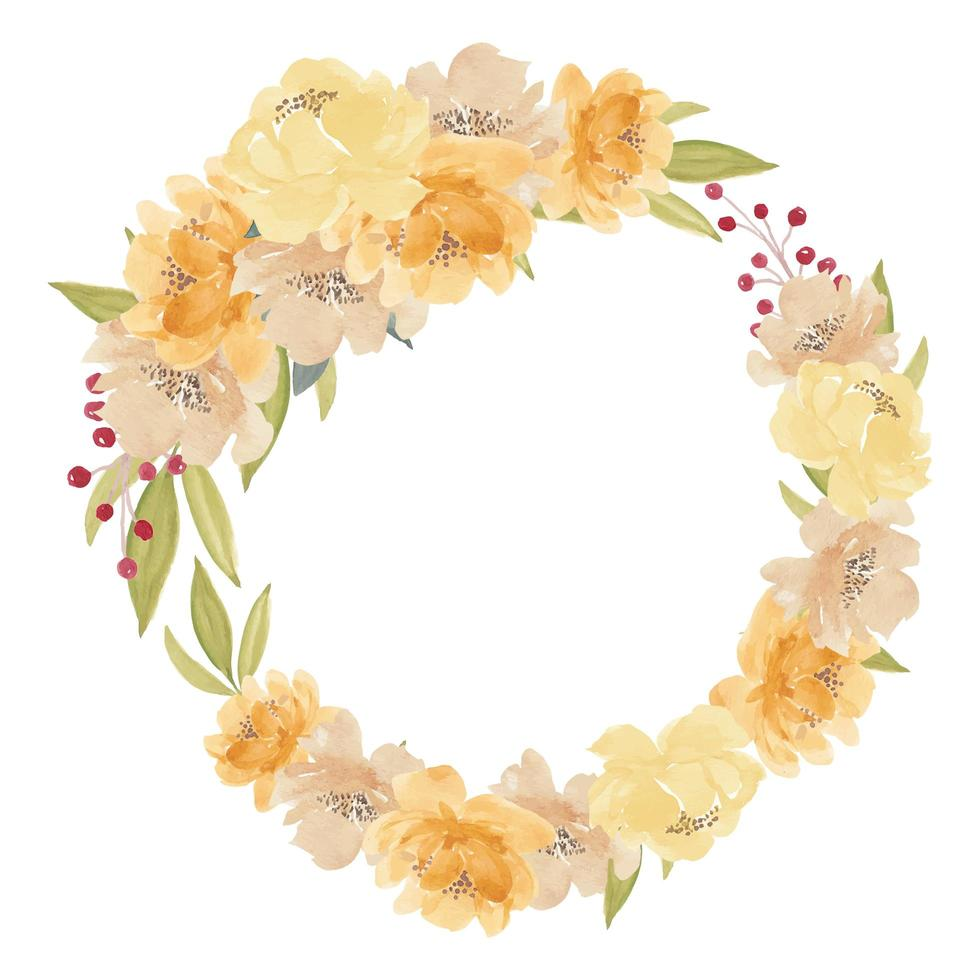 coroa de flores em aquarela peônia amarela vetor