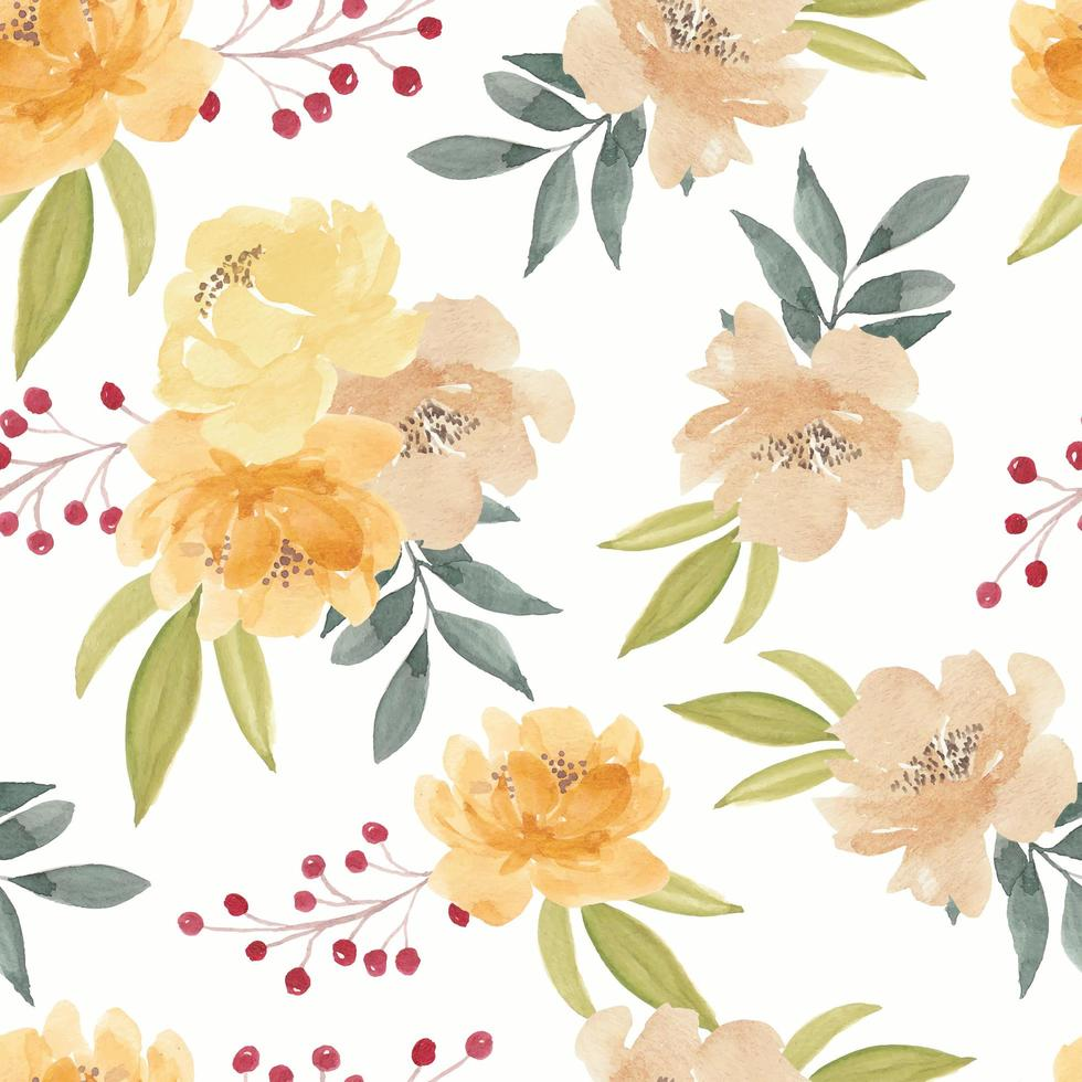 padrão sem emenda de aquarela peônia amarela flor vetor