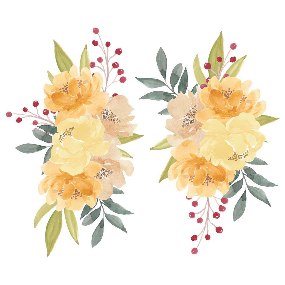 buquê de flores em aquarela peônia amarela vetor
