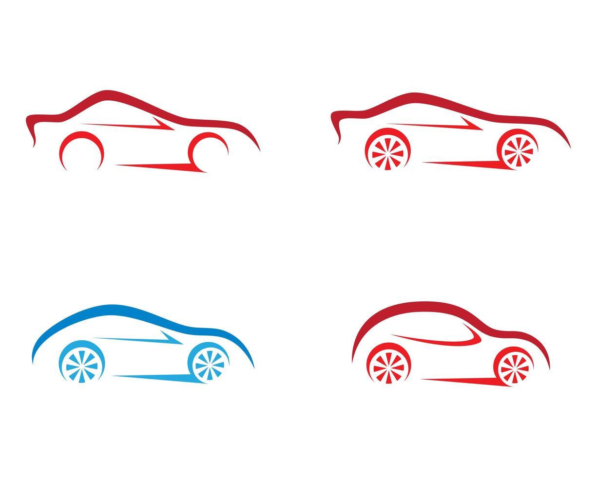 conjunto de logotipo de contorno de carro vetor
