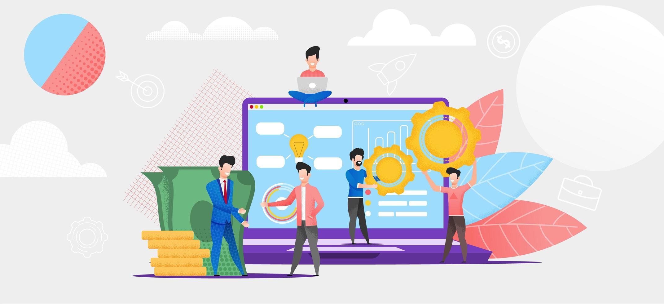 grupo estudando sistema de mercado financeiro on-line vetor