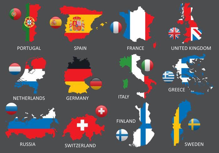 Mapas de Europa vetor