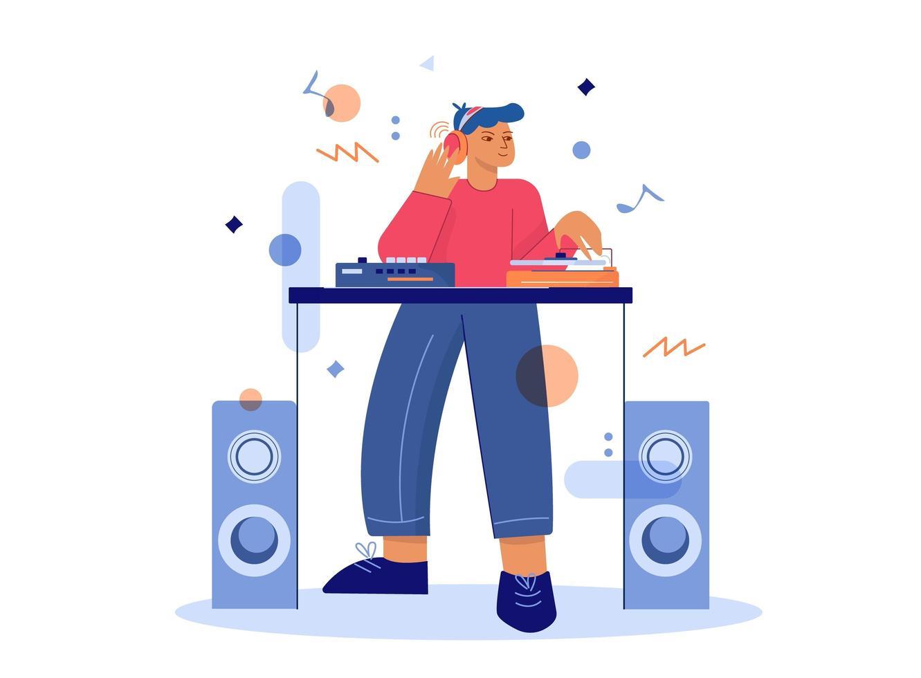 DJ fazendo música no misturador de toca-discos vetor