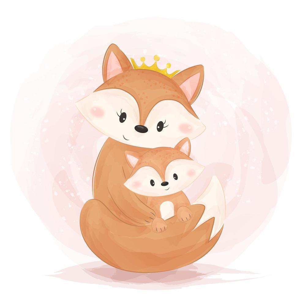 criança e raposa bonito estilo aquarela mãe e filho vetor