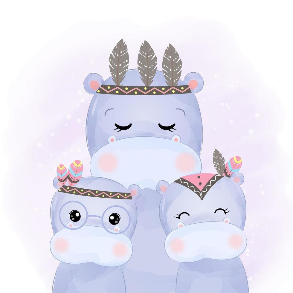 família de hipopótamo boho adorável estilo aquarela vetor