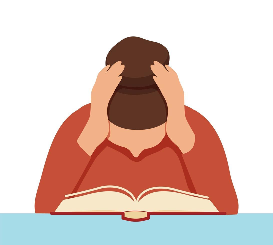 livro de leitura focado aluna vetor