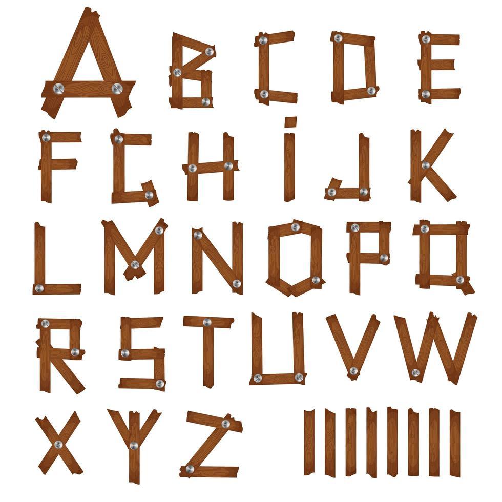 alfabeto de madeira dos desenhos animados vetor