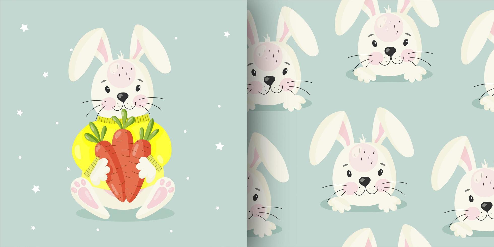 coelho com cenoura e padrão sem emenda vetor