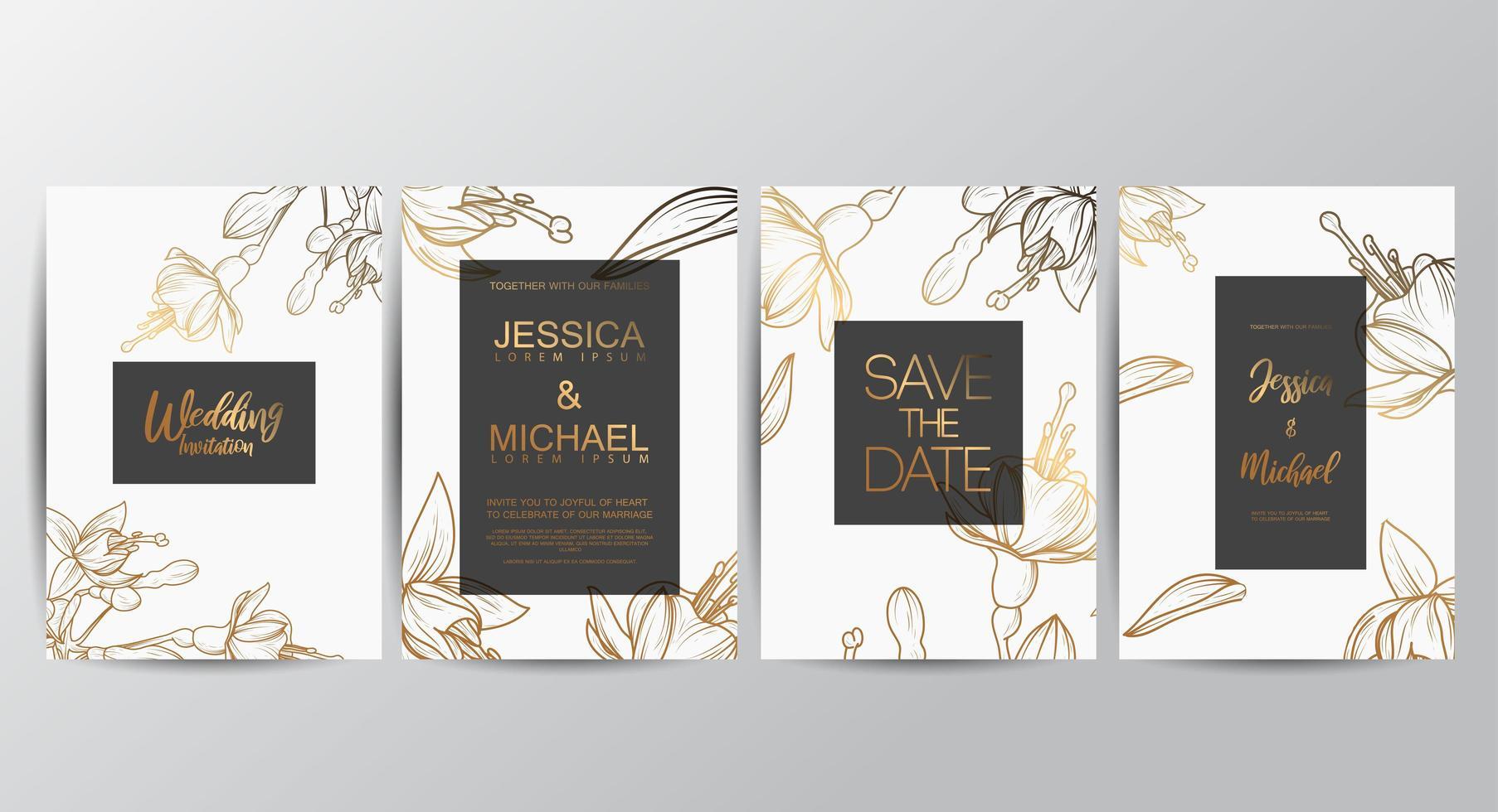 cartões de convite de casamento floral vetor