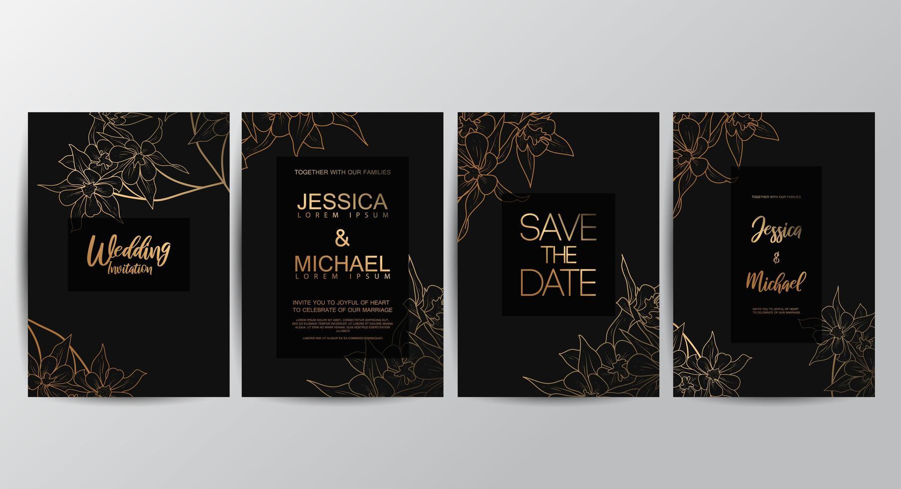 cartões de convite de casamento de luxo flor vetor
